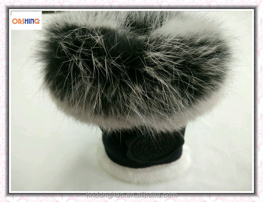 Woman Fingerless Factory Gloves with Rabbit Fur OEM