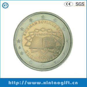 Promotional gift 2 inches trophy metal commemorative coin
