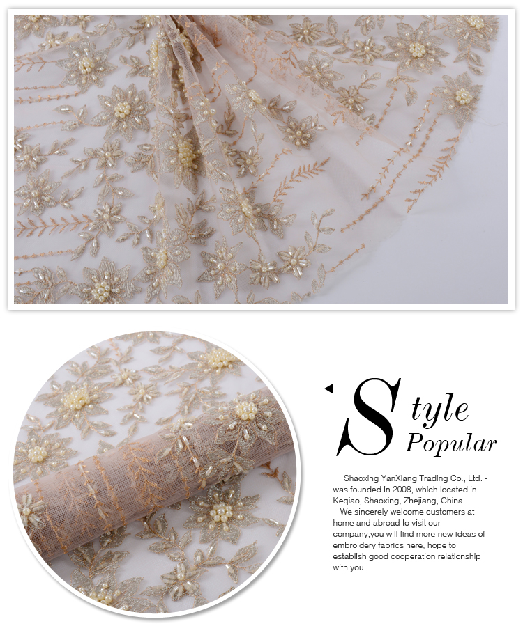 New promotion white net heavy pearl beaded african lace fabric design