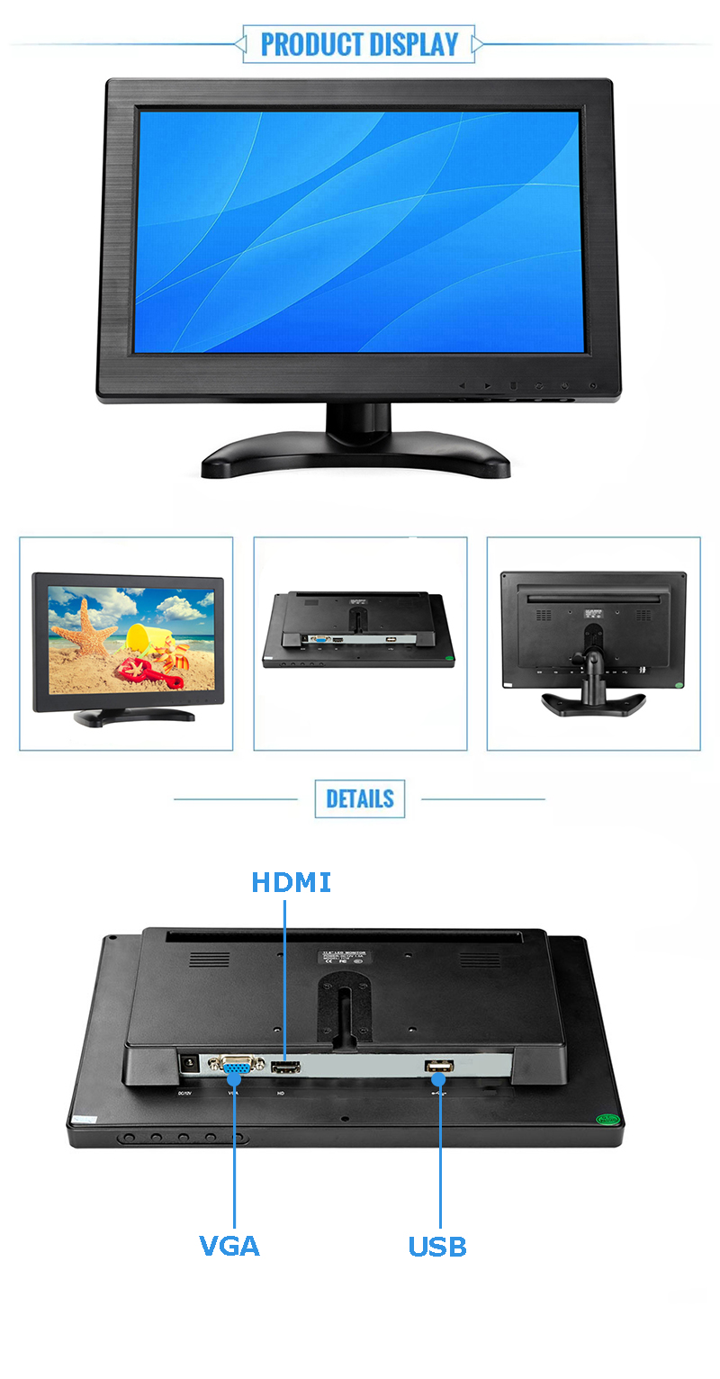 Shenzhen factory monitor hd 1920*1080 11 inch tft lcd monitor price