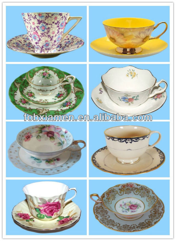 Antique porcelain bone china tea cup and saucer sets wholesale