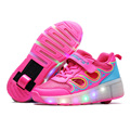 2016 New summer Breathable Child Heelys Mesh Shoes Sneakers With Wheels Girls Boy LED Light Wheelys