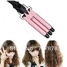 3-Barrel Pink color Pearl Hair Curling Curler Wand Tong Hair Waving Styler Twiste Iron New Free Shipping