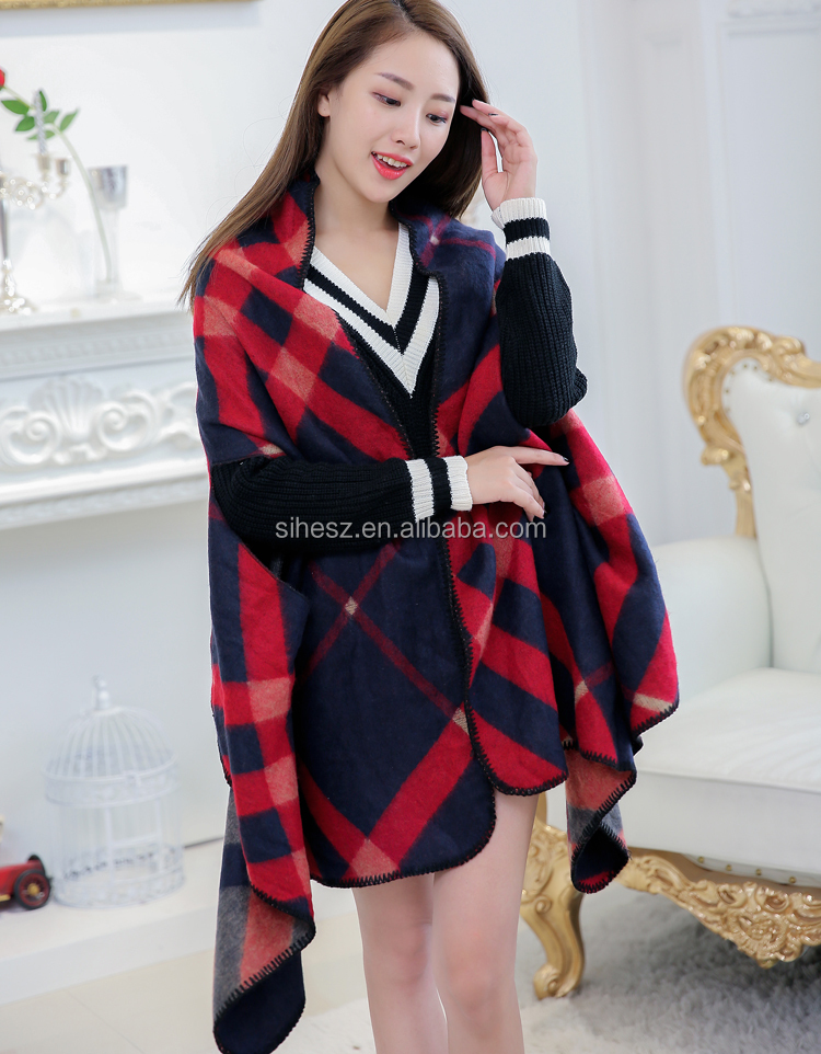 winter blanket ruana women plaids cape shawl for women