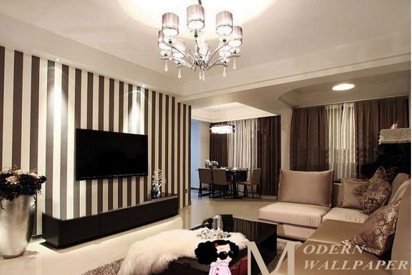 Stripe Cream Grey White Dark Wall Paper Wallpaper Roll