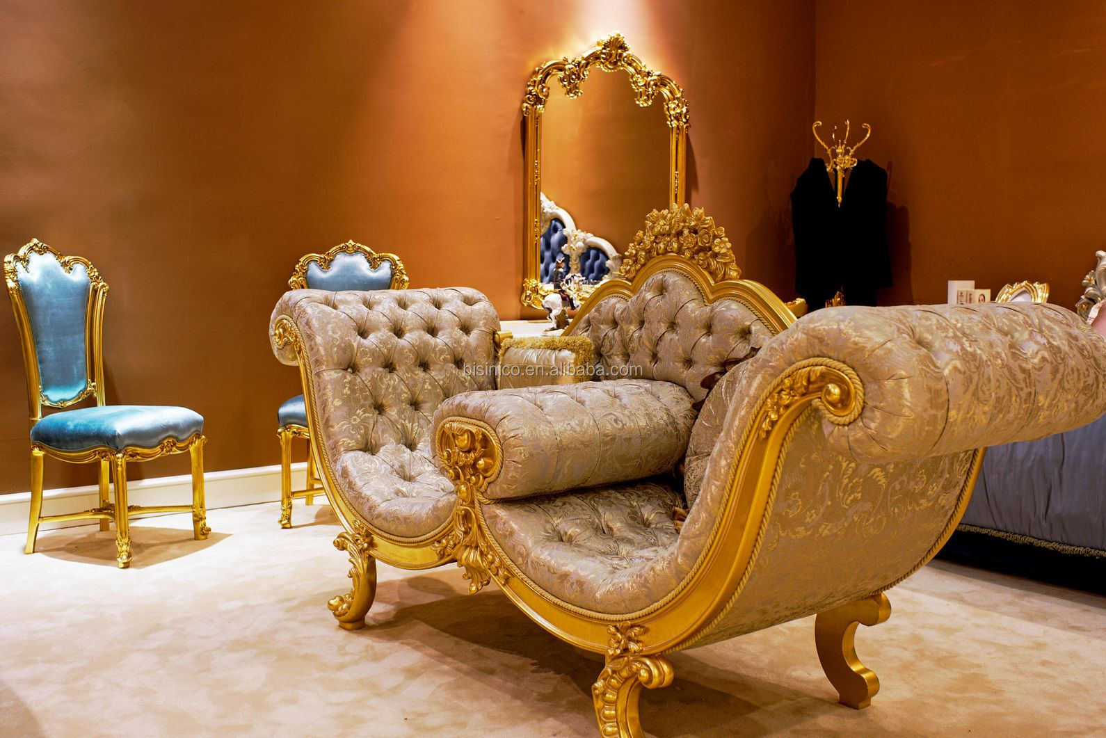 Luxury Antique European Style Bedroom Funiture Set, Golden Carved Bedroom Armchair and Tea Table Set