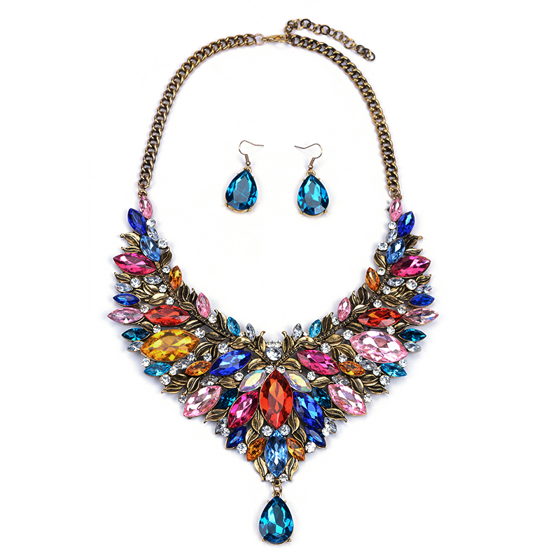 artificial american diamond cluster jewellery crystal necklace earring jewelry set