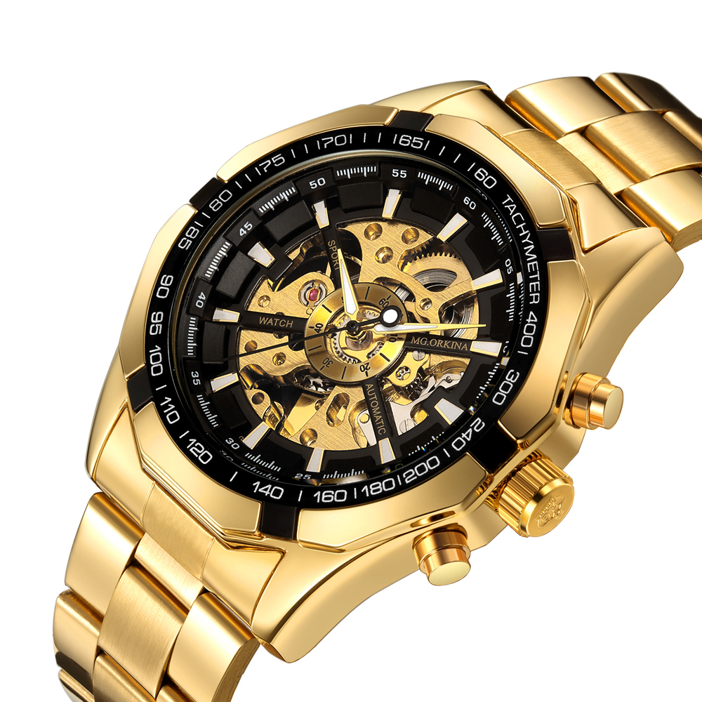 High quality China Top Brand Watch Luxury Skeleton Automatic Mechanical Watch gold vintage Mens Watch relojes hombre фото
