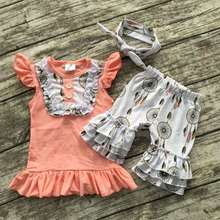 baby girls summer outfits girls dream catcher clothing children bib top ruffle shorts sets kids boutique clothes with headband