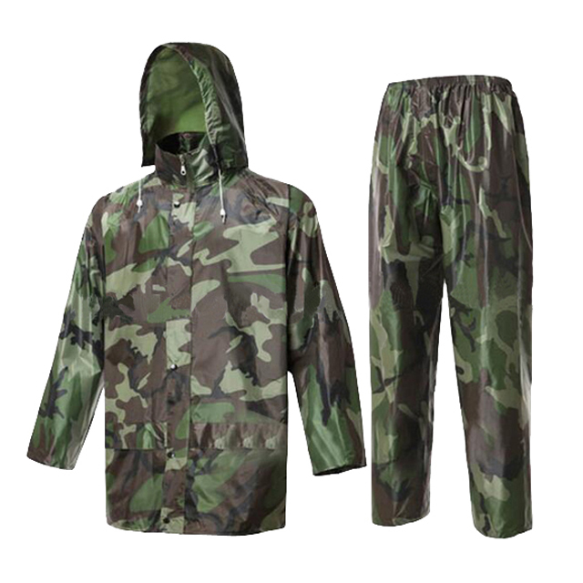Polyester Camouflage Rain Suit Military Army Rain Jacket And Trousers Outdoor Hunting Hiking Camo Rainwear