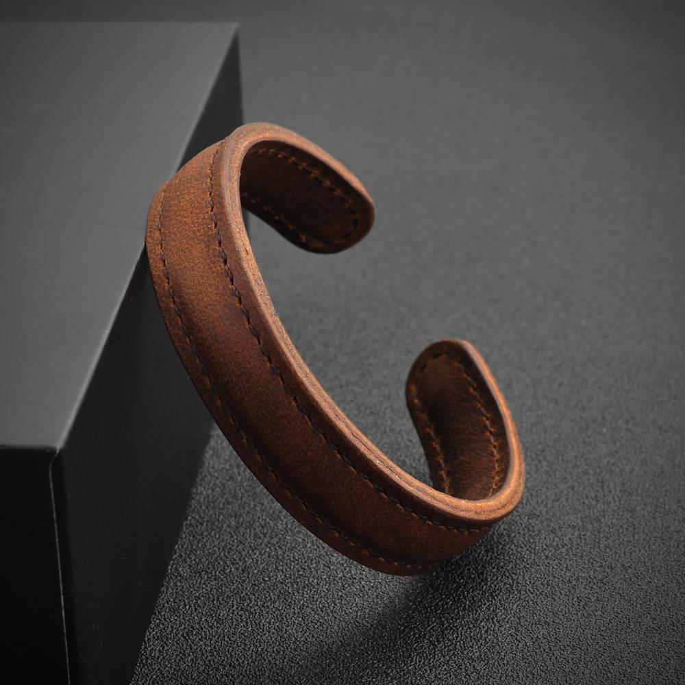 New Products 2018 Plain Blank Genuine Brown Leather Cuff Bangle Bracelet For Women