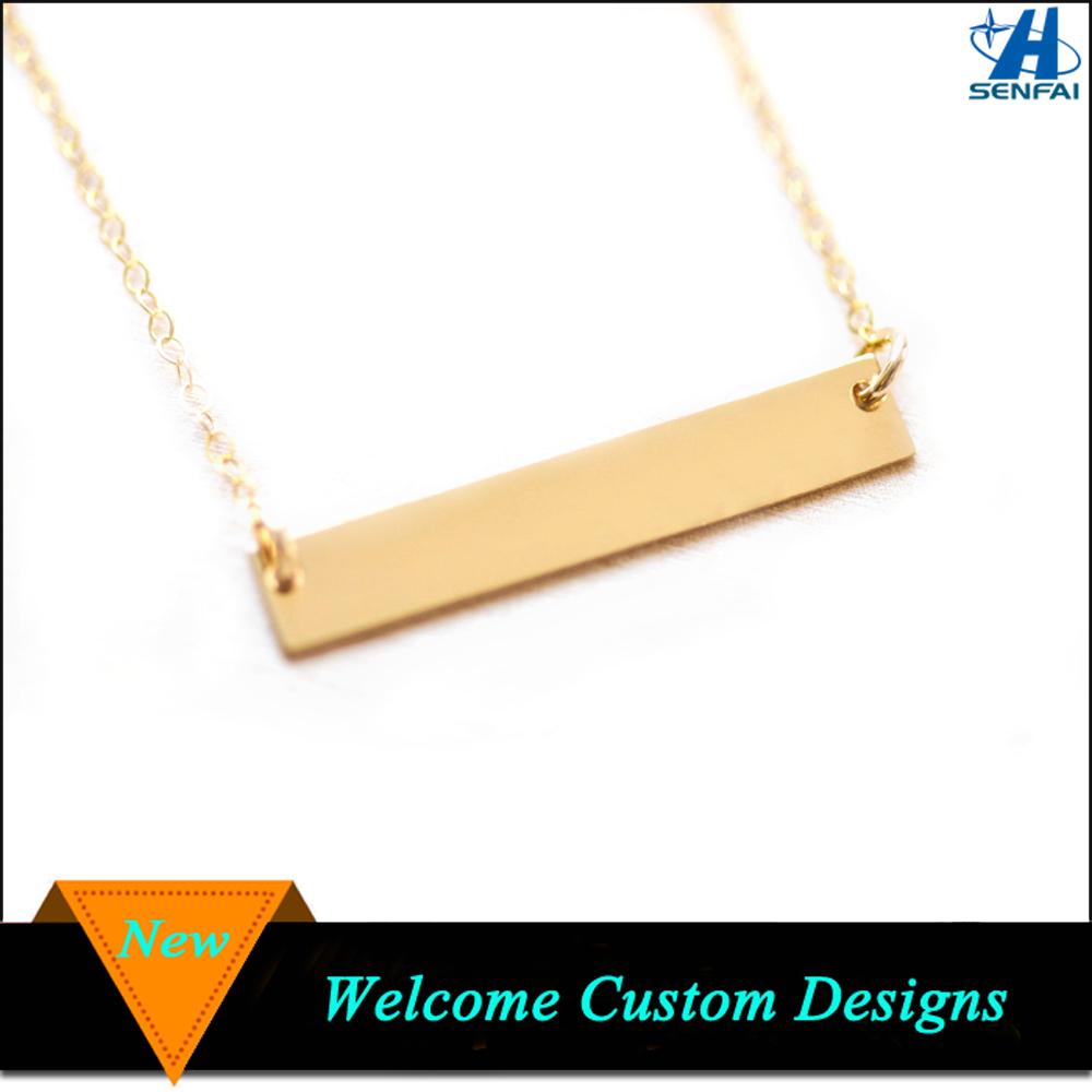 custom engravable blank gold bar necklace buy gold bar necklace