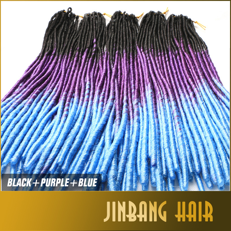 Black Purple Blue Ombre Three Color Soft Dreadlock Dread Faux Locs Braids Crochet Hair Softex Crochet Twist Braids