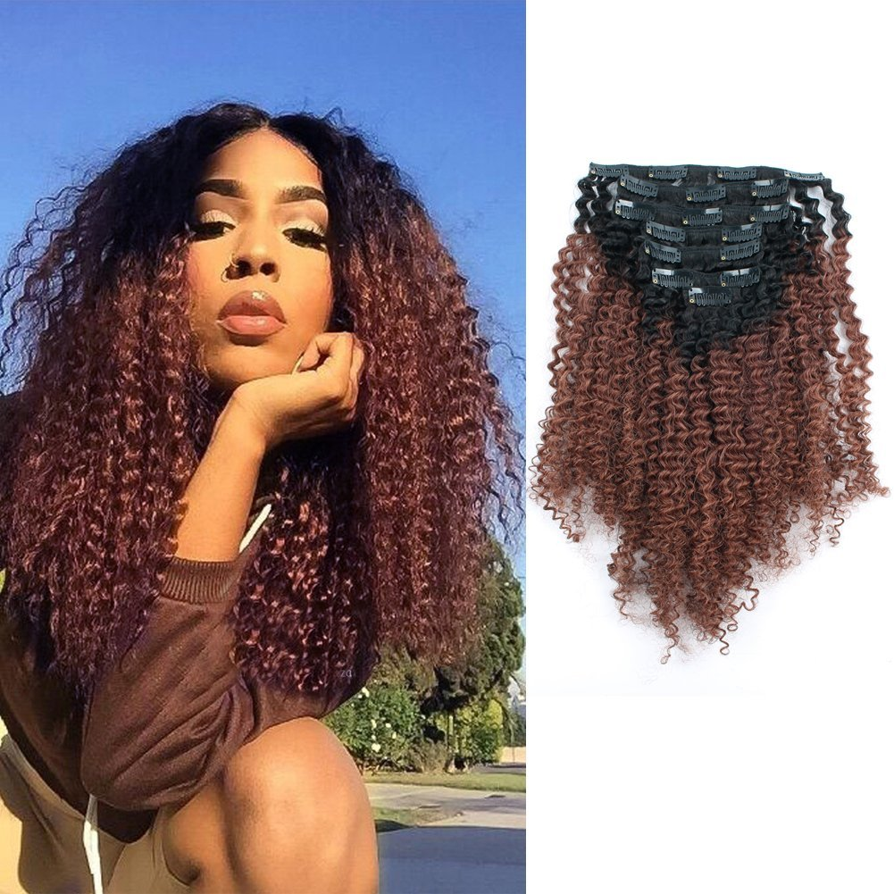Sassina Ombre Afro Curly Clip In Human Hair Extensions Double Wefts Remi Hair For Black Women Natural Black Fading into Auburn 120 Grams/Set With 7 Pieces 17 Clips AC TN33 12 Inch