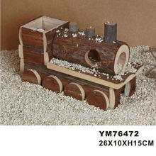Train natural forma jaula hamster & house & juguete de madera