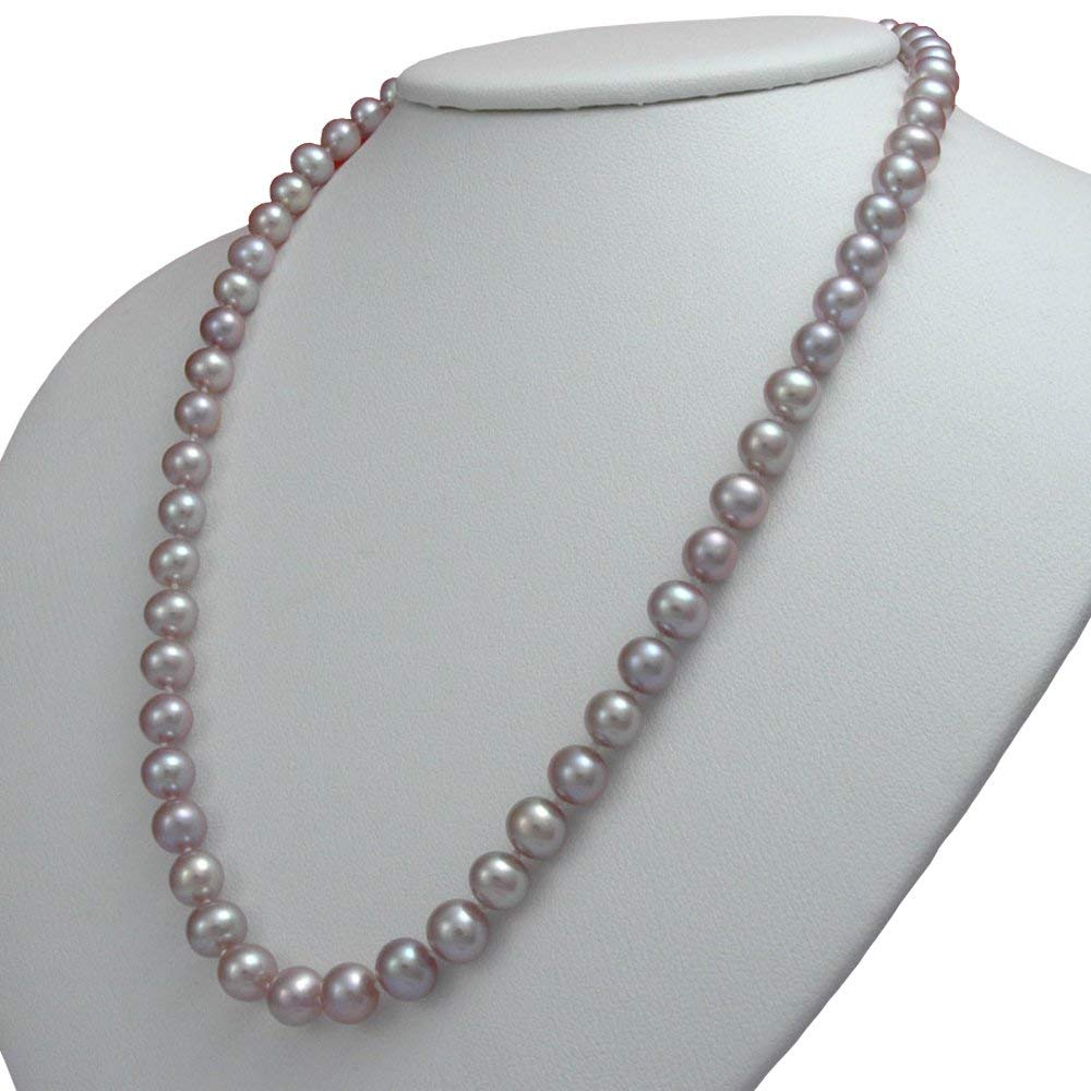 White 7.5-8.5mm Double Strand AA Quality Freshwater Cultured Pearl Necklace for Women