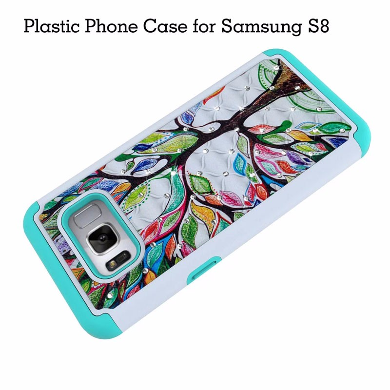 Colored Drawing Plastic Phone Cover with Bling Diamond Soft TPU Cases inside for Samsung Galaxy S8