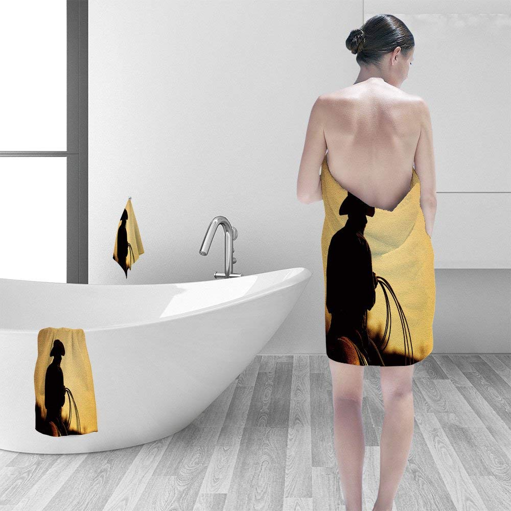 Nalahomeqq Bath towel set cowboy lasso silhouette at small town rodeo Buyers note image contains added grain to enhance theme of image 3D Digital Printing No Chemical OdorEco-Friendly Non Toxic