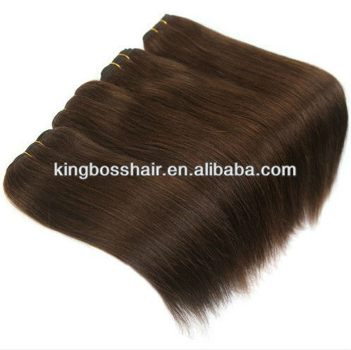 "cheap12""--30"" color #4 brown straight 100Indian human hair extension remy hair weaving"