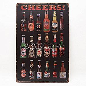 Yours Dec Metal Tin Sign Cheers, Beer Bottles Around the World, Metal Tin Sign, Wall Decorative Sign By 66retro