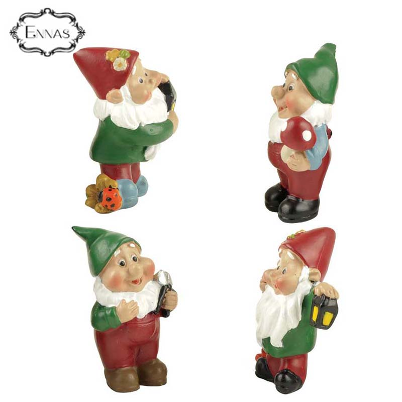 Polyresin funny miniature gnome for garden decorations