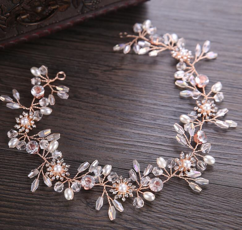 Gorgeous Rose Gold Wired Rhinestones Crystals Pearls Flower Wedding Headband Bridesmaid Bridal <strong>Hair</strong> Vine <strong>Hair</strong> <strong>Accessories</strong>