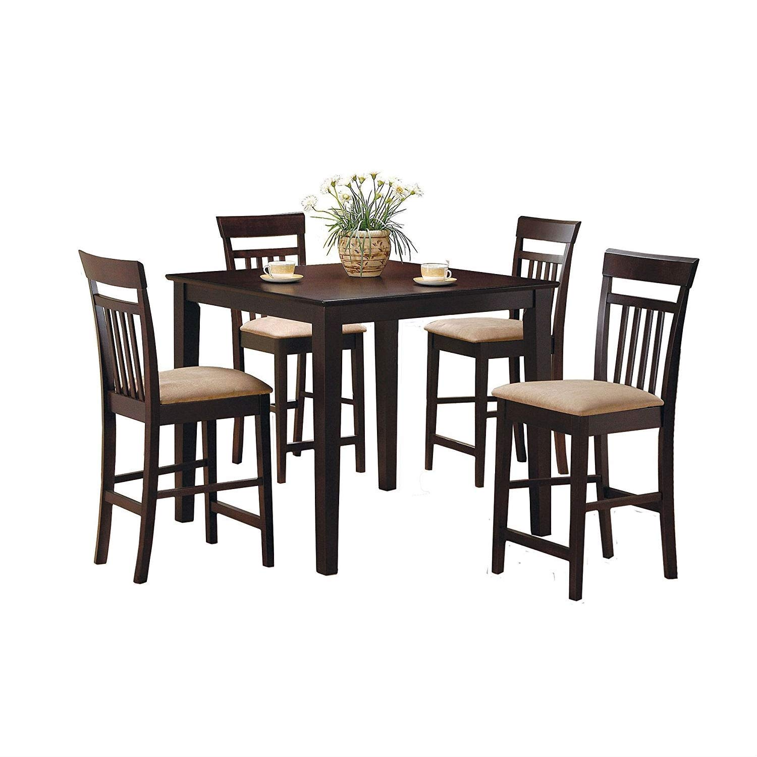 BeUniqueToday Dark Brown 5-Piece Dining Room Set with 4 Counter Height Barstools, A Great Welcome Addition to Your Casual Contemporary Home, Sleek Square Table has Smooth Edges and Tapered Square Legs