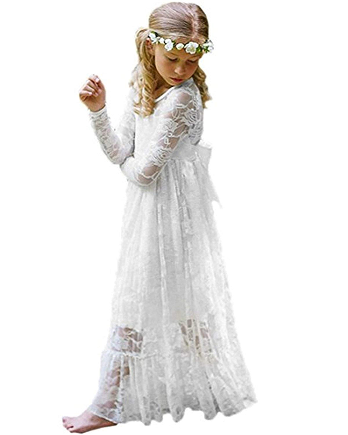 Kidsform Girl Lace Long Dress Fancy Boho White Long Sleeve Communion Wedding Party Baptism Dresses