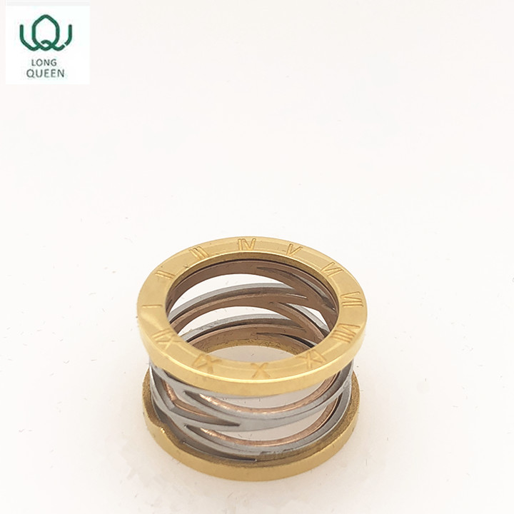 Simple fashion ladies gold rotating men's ring stainless steel ring popular accessories