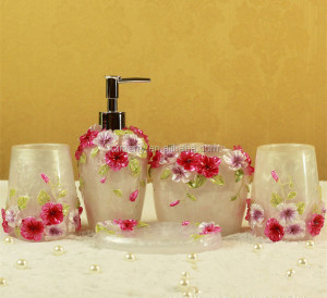 Resin Bathroom Accessory Set Complete, Gold Bathroom Accessories for Bathroom, Powder Room, Kitchen