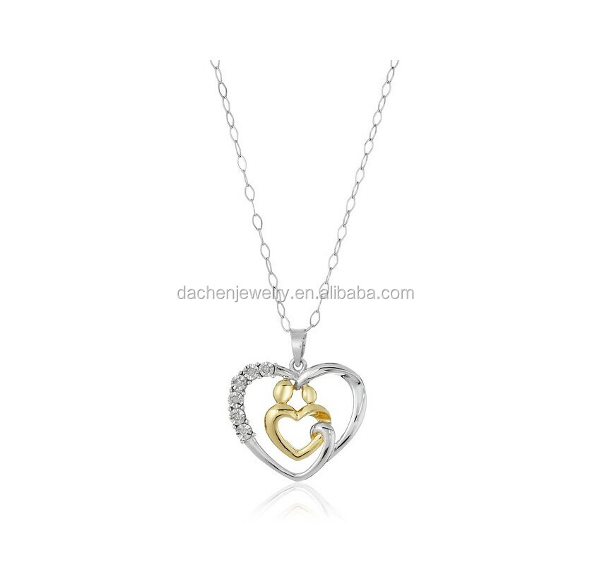Diamond Necklace Sets Heart Shape Meaningful 925 Silver Pendant Necklace