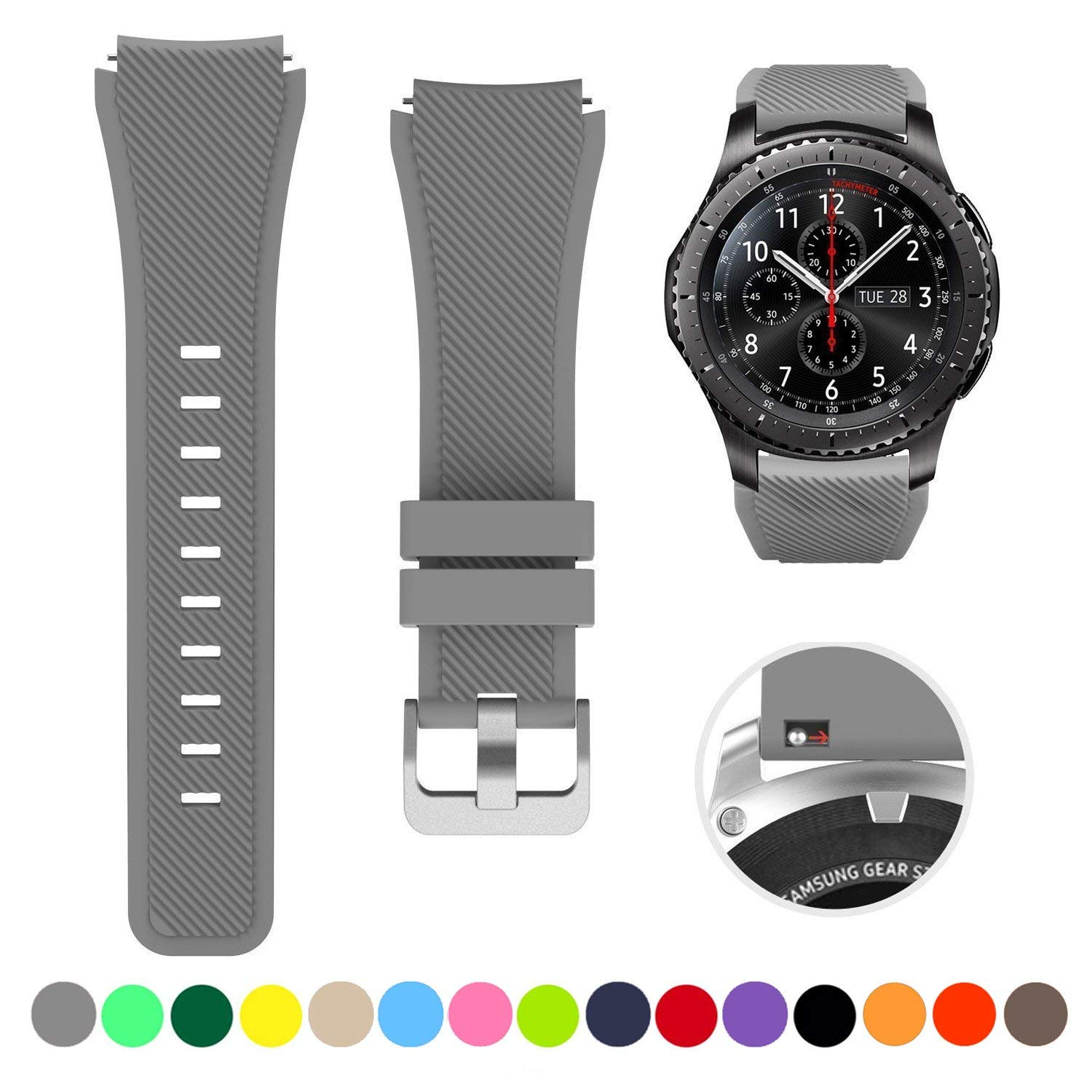 Minggo Bands for Samsung Gear S3 Frontier/Classic Watch Silicone Bracelet, Sports Silicone Band Strap Replacement Wristband for Samsung Gear S3 Frontier / S3 Classic (Grey)