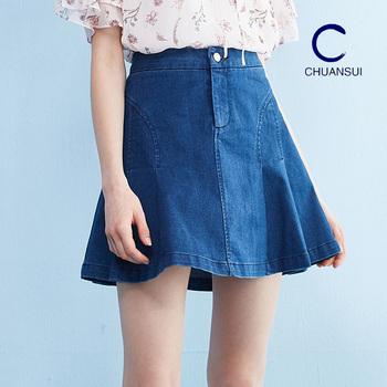Fashion Design Ladies High Waist Umbrella Jeans Skirts Girls Denim