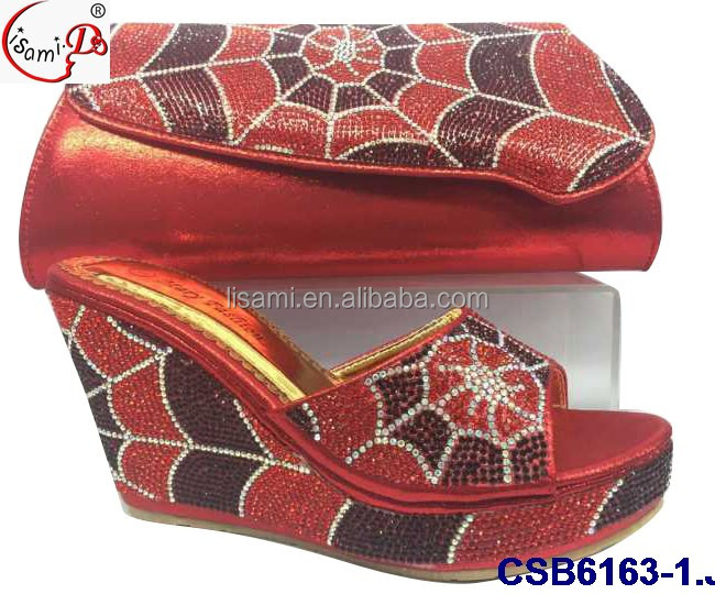 bags design New and black shoes set wedge CSB6163 2016 african shoes YSZ11w