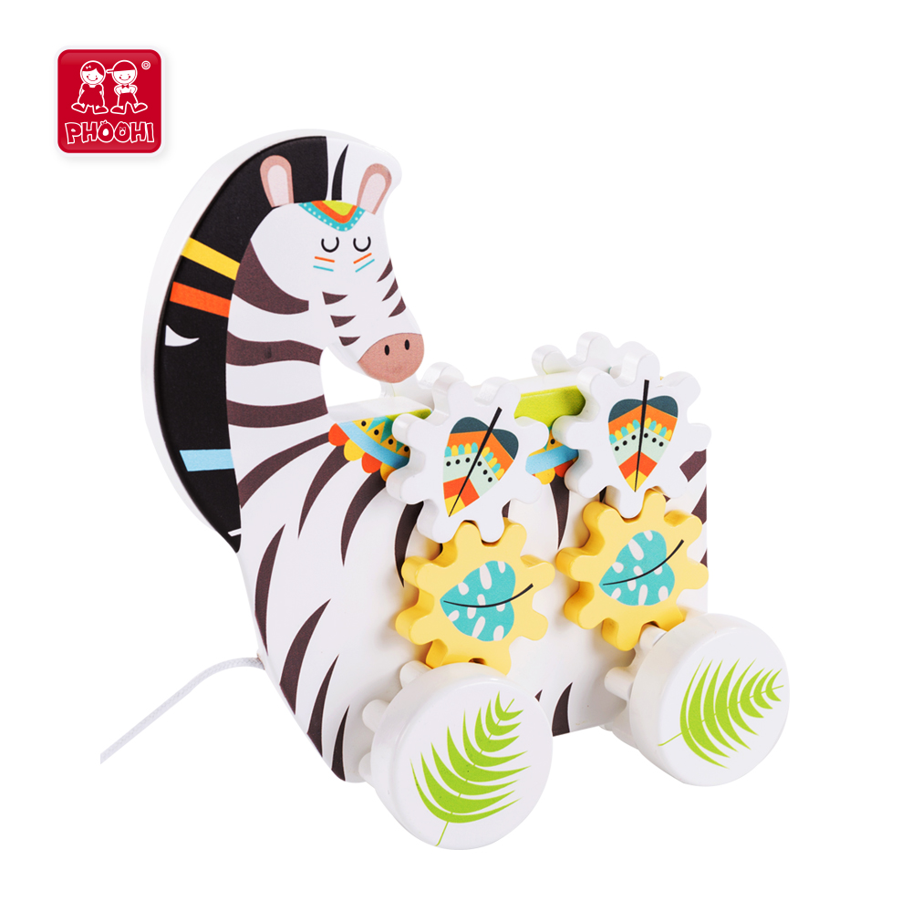 2 in 1 early learning educational animal play gear baby wooden pull along zebra toy