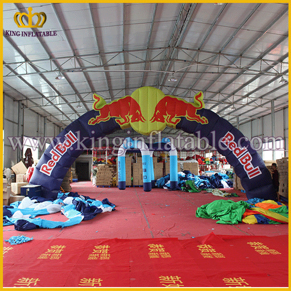 Facoty directly red bull inflatable arch for advertising, inflatable red bull entrance arch