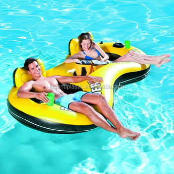 PVC Inflatable Pool Chair Floating For 2 Person Adult Lounge Float With