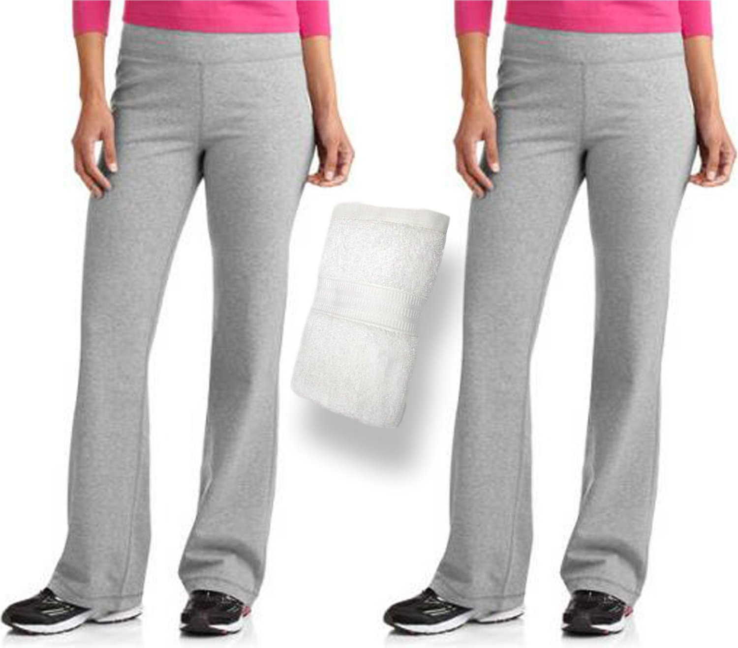 50e71fa0195 Get Quotations · Danskin Now Women s Dri More Bootcut Pants 2 Pack and  Exclusive Sports Towel