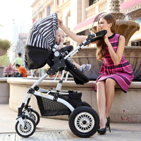one hand folding aluminium frame foldable baby stroller 3 in 1, baby carriage