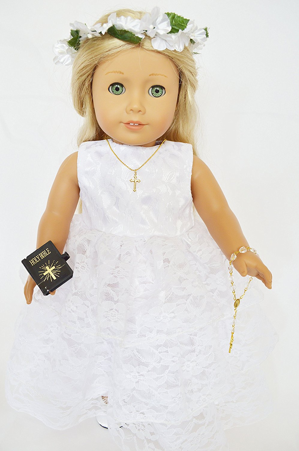Get Quotations · COMMUNION GOWN FOR AMERICAN GIRL DOLLS ALL LACE WITH  WREATH BIBLE ROSARY TIGHTS SHOES AND CROSS 117be1c87