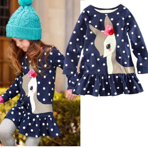 1 7Y Baby Kids Girls Cute Deer Long Sleeve Cotton Polka Dots Top Dress T Shirt