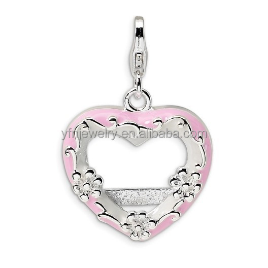 Fashion Memorial Jewelry 925 Silver Flower and Pink Enamel Photo Frame Heart Charms For Bangle Bracelets