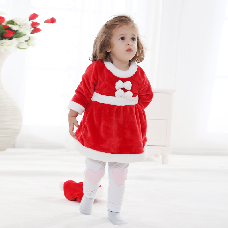 03a78eb6333e Get Quotations · 2015 Winter Baby Girl Dress Christmas Polyester Dress Santa  Claus Baby Girl Clothes Princess Newborn Baby