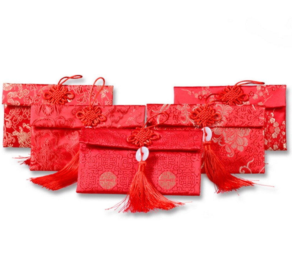 Skyseen 5PCS Chinese Element Festive Silk Red Envelopes Gift Card Wedding Red Money Pockets