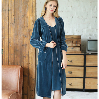 HSZ SR390 Manufacturers Wholesale Autumn Winter Velvet Women Nightgowns Long Sleeve Thick Section Sexy Single Gown Pajamas
