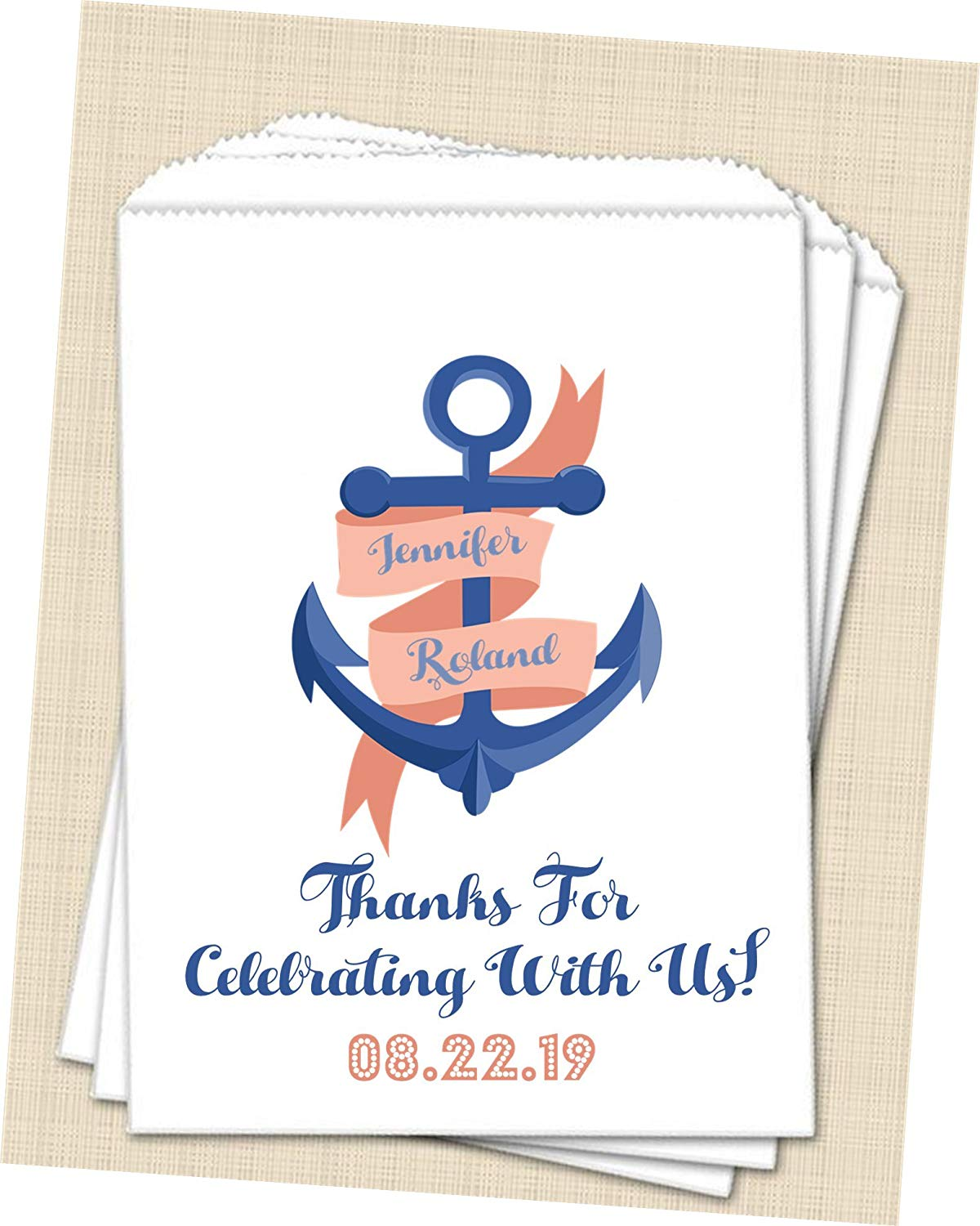 Get Quotations Personalized Nautical Anchor Wedding Favor Bags Supplies