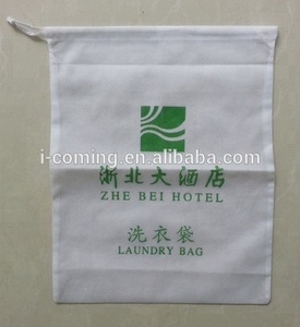 Wholesale reusable non woven printed drawstring hotel laundry bag/promotion eco-friendly cheap non-woven travel laundry bag