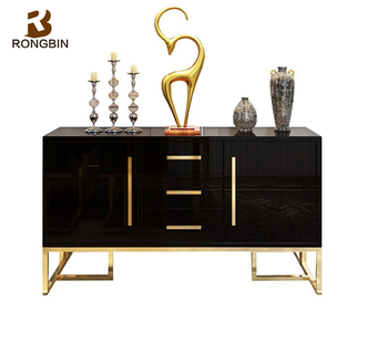 High Gloss Home Decor Buffet Cabinet Furniture Black Wooden Chinese Modern Sideboard With Metal Frame