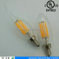 Led Production E12 Dimmable 4 Watt LED Filament Candelabra Light Bulbs,Vintage Retro Flame Tip Shape Glass Cover bulb