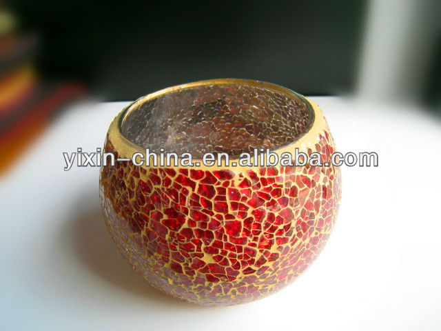 Red Crackle Mosaic Glass Tealight Holder